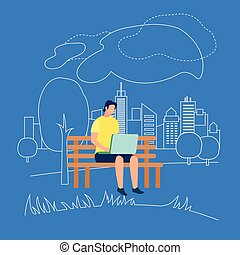 Man Character Sitting on Bench in Park with Laptop