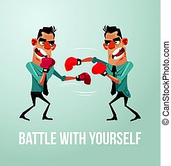 Man character struggles with himself. Battle with yourself. Vector flat cartoon illustration