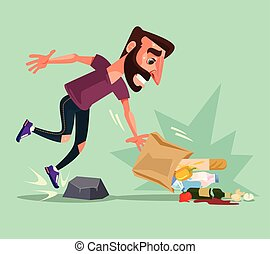 Man character stumbled over stone and dropped packet of food. Vector flat cartoon illustration