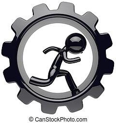 Man character stylized black human run inside gearwheel