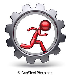 Man character stylized red human running inside gearwheel