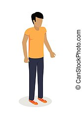 Man Character Vector Icon in Isometric Projection