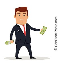 Male character with bundle of money vector. Flat style design. Smiling man in business suit standing and holding dollar banknotes. Investment, wages, income, credit, savings, charity concept.
