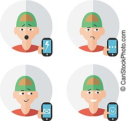 Man character with phone emotions