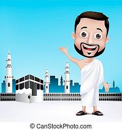 Man Characters for Hajj or Umrah - Realistic Muslim Man...