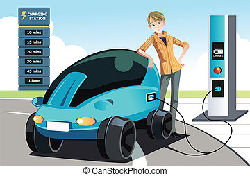 A vector illustration of a man charging his electric car at the station