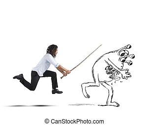Man chasing a flu virus