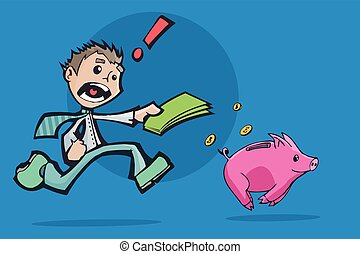 Man chasing a Piggy Bank for investment.