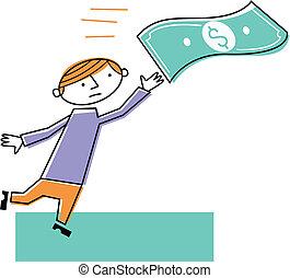 Man chasing dollar note