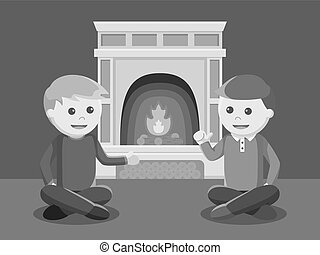 man chatting near fire place black and white color style