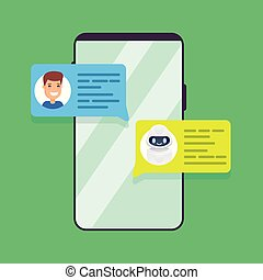 Man chatting with chat bot on smartphone. Vector illustration