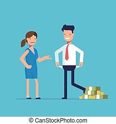 Man cheating woman. Businessman with lots of money evades payment. Financial fraud. Greedy man in trousers and shirt. False bankruptcy. Vector illustration in flat style isolated on a blue background.