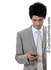 Man checking mobile phone for messages