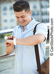 96737319a9c9 Confident smart casual man walking to side on white background, full ...