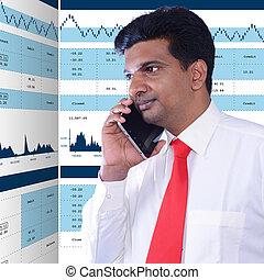 Man checking stock market analysis