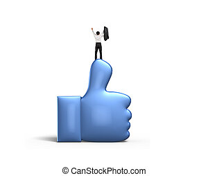 Man cheering and standing on blue thumb up