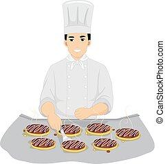 Man Chef Okonomiyaki Cooking
