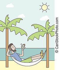A caucasian hipster man with beard chilling in hammock at seashore with a cocktail in a hand. Vector line design illustration. Vertical layout with a text space for a social media post.