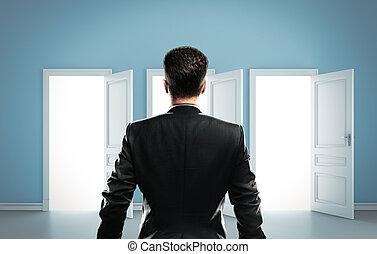 man choose among three door