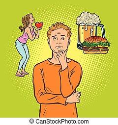 man chooses between woman and beer