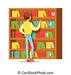 Man Choosing A Book From The Bookshelf, Smiling Person In The Library Vector Illustration