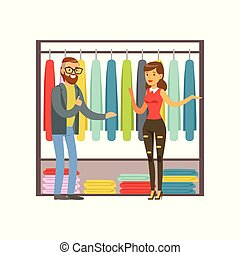 Man choosing clothing with shop assistant help during shopping colorful vector illustration