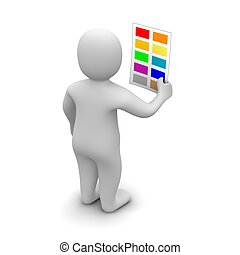 Man choosing color. 3d rendered illustration isolated on white.