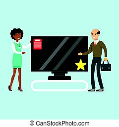 Man choosing TV with shop assistant help in appliance store colorful vector Illustration