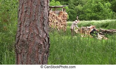 man chop wood
