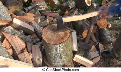 Man chopping wood - Farmer chopping firewood with the help...
