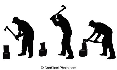 man chopping woods silhouettes - vector