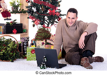 Man Christmas present home