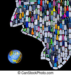 Modern civilization threatening earth - man made of plastic bottles swallows the planet