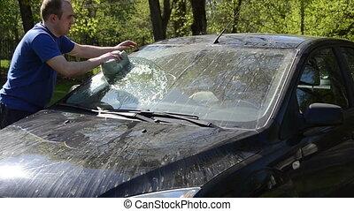 man clean automobile
