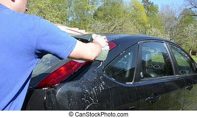 man clean favourite car