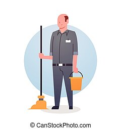 Man Cleaner Icon Cleaning Service Worker Professional Occupation