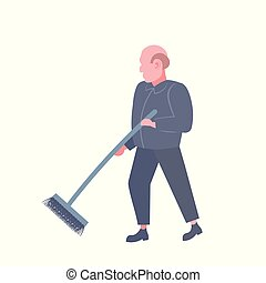 man cleaner sweeping floor cleaning service worker in dark uniform holding broom professional occupation concept male cartoon character concept flat isolated