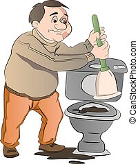 Man Cleaning a Toilet, illustration - Man Cleaning a a...