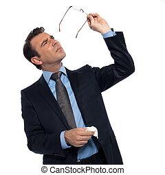 Man cleaning eye glasses - man businessman myopic cleaning ...
