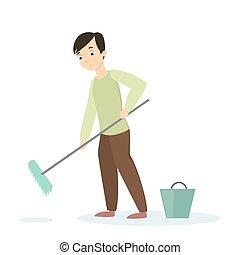 Man cleaning floor.