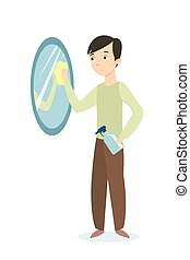 Man cleaning mirror.