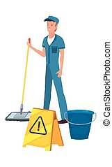 man cleaning products and supplies