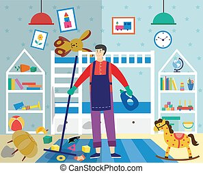 Man cleaning very dirty and messy children room, flat vector illustration.