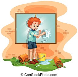 Man cleaning window at home illustration