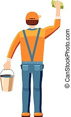 Man cleaning with bucket and sponge back view icon