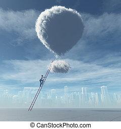 Man climb a ladder to a cloud shaped as a balloon. This is a...
