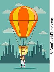 Man climb a ladder to a air balloon.
