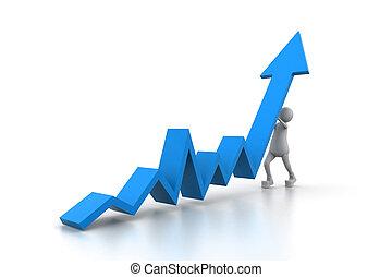 Man climb blue growth arrow