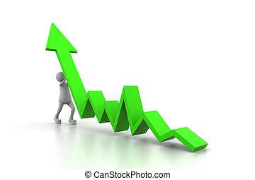Man climb green growth arrow