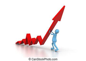 Man climb red growth arrow